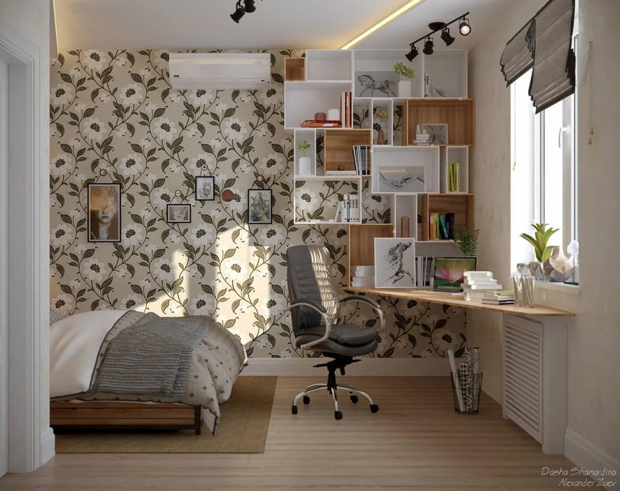 Дизайн спальни в станице Смоленская: Спальни в . Автор – Студия интерьерного дизайна happy.design, Скандинавский