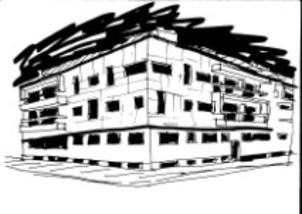 Fachada principal do Edifício Praia Oeste , Praia da Barra , Ílhavo, Distrito de Aveiro Casas modernas por José Vitória Arquitectura Moderno