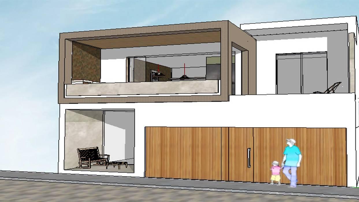 Edificio Bifamiliar Pon - fachada Casas de estilo minimalista de 1en1arquitectos Minimalista