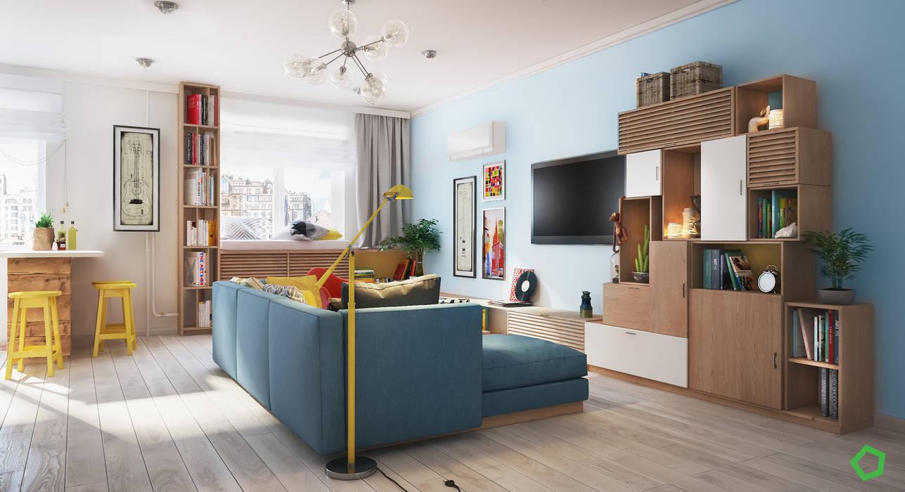 Zelena apartment: Гостиная в . Автор – Polygon arch&des,
