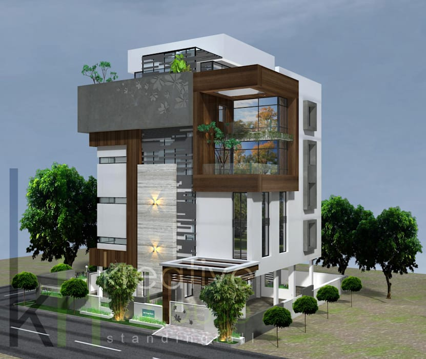 A multifamily home with highend luxury and breathtaking style!! Modern Houses by KREATIVE HOUSE Modern Engineered Wood Transparent