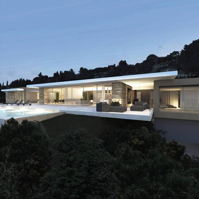 Villa contemporaine Maisons modernes par ARRIVETZ & BELLE Moderne