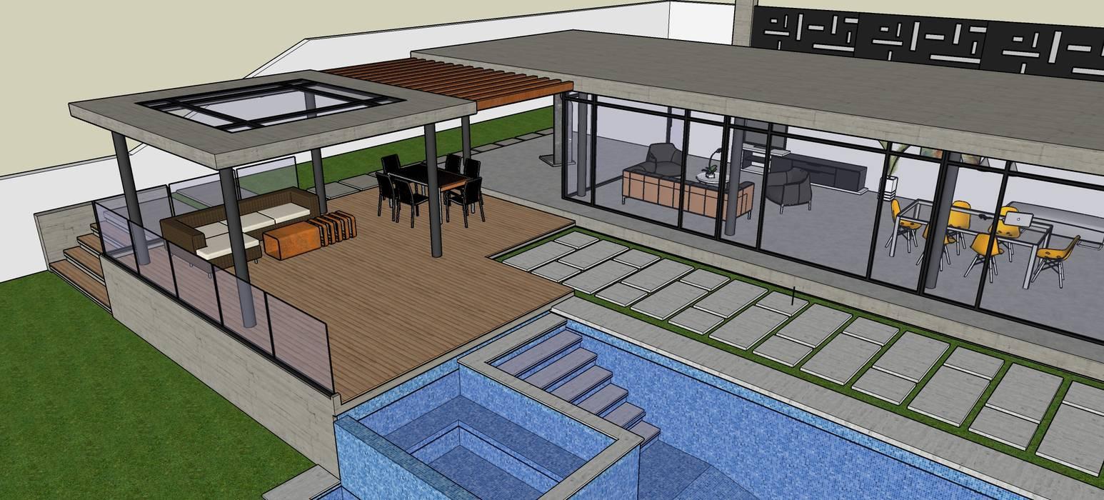 Exteriores de Casa Moderna - Diseño Arquitectonico Atahualpa 3D Piscinas de estilo moderno