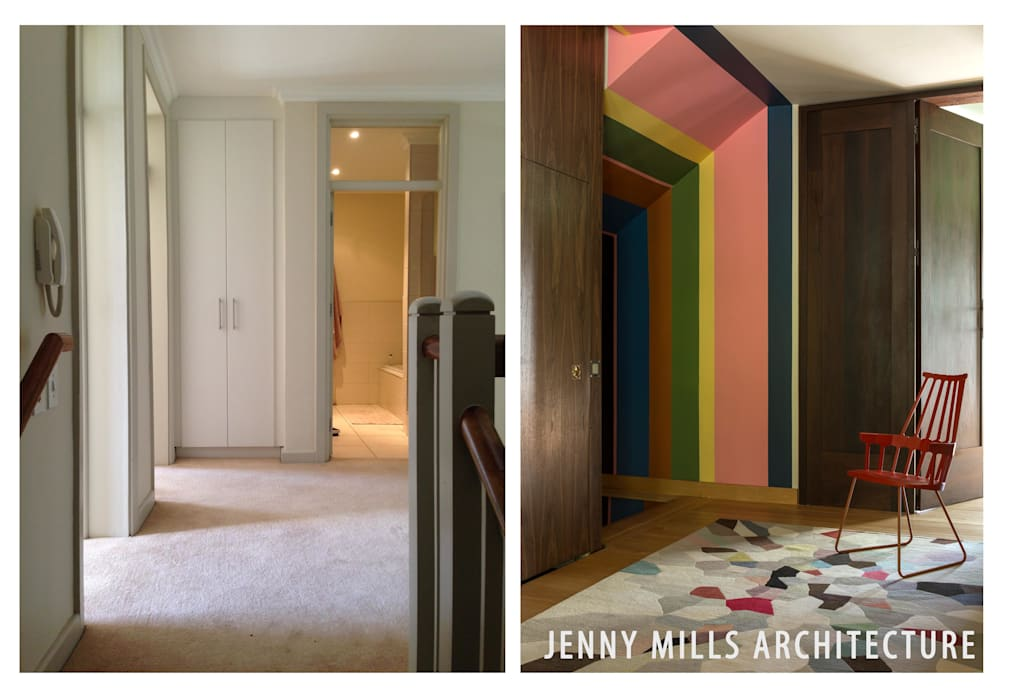 First Floor Lobby - Before and After Modern Corridor, Hallway and Staircase by Jenny Mills Architects Modern