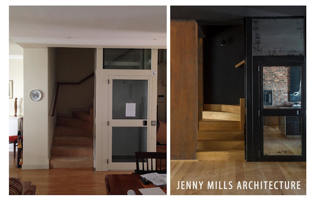 The Stairs - Before and After Modern Corridor, Hallway and Staircase by Jenny Mills Architects Modern Wood Wood effect