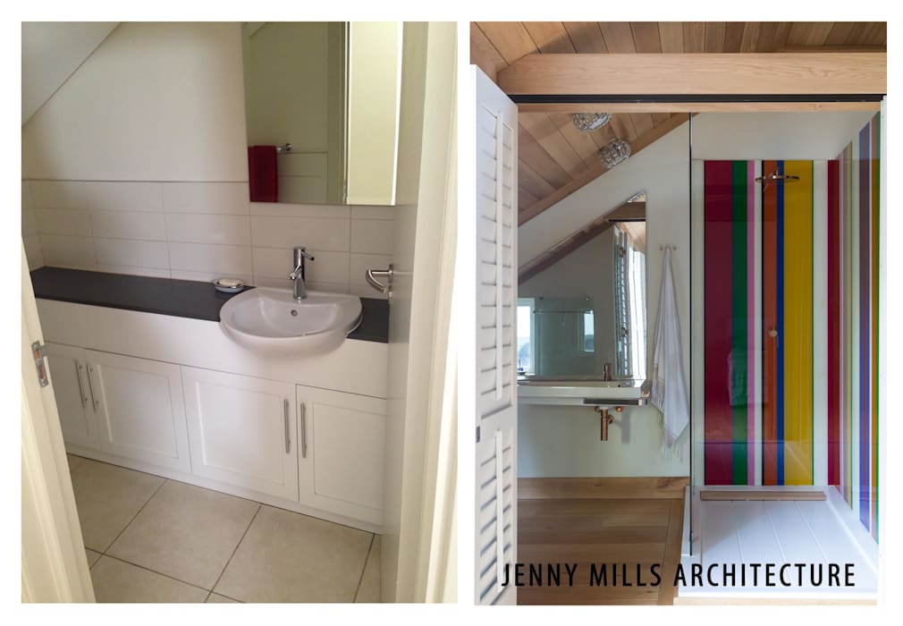 Bathroom 3 - before and after:  Bathroom by Jenny Mills Architects