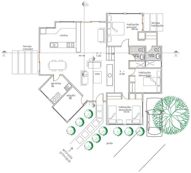 Planta de distribución Salas de estilo rural de Loft estudio C.A. Rural