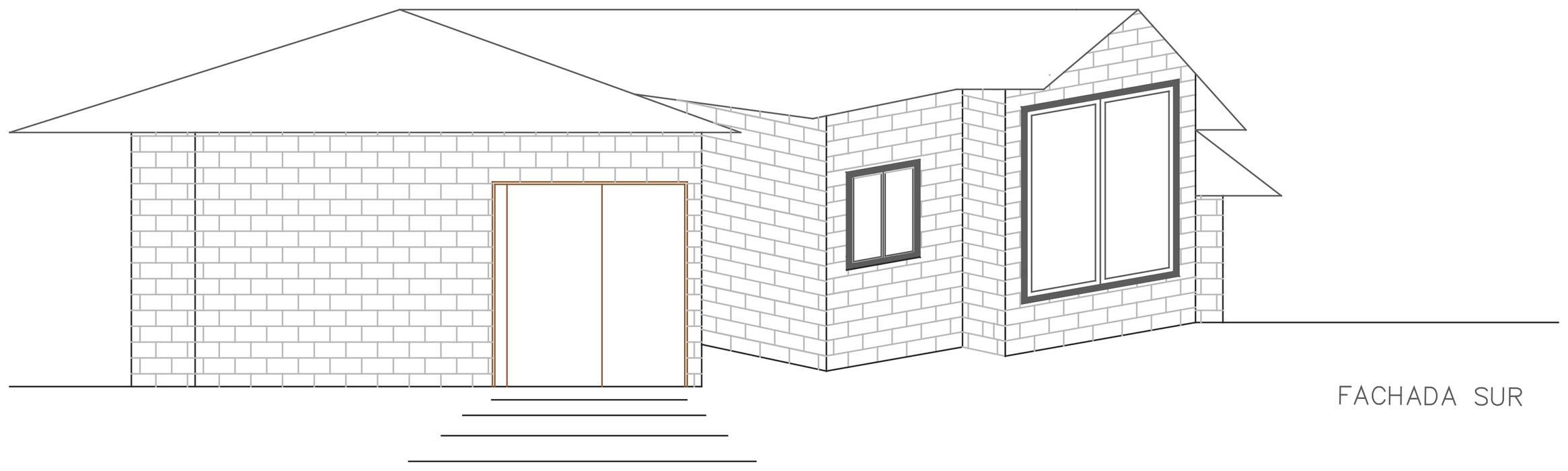 Fachada Lateral: Casas de estilo  por Loft estudio C.A., Rural Ladrillos
