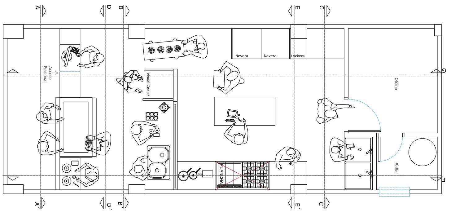 Distribución de espacios de Loft estudio C.A. Moderno