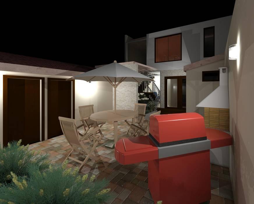 Terraza trasera iluminación nocturna: Terrazas de estilo  por Diseño Store