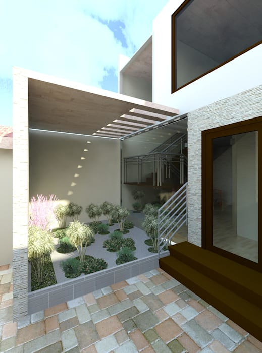 Vista del jardín Zen que empieza en el interior y termina en el exterior : Jardines de estilo  por Diseño Store