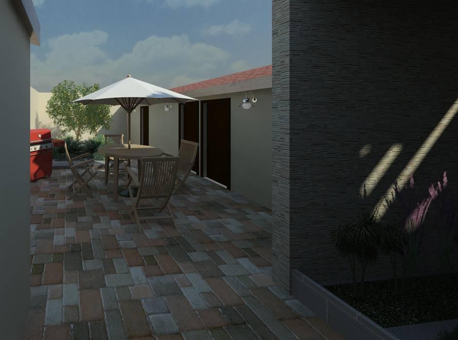 vista del jardín desde la puerta posterior: Terrazas de estilo  por Diseño Store
