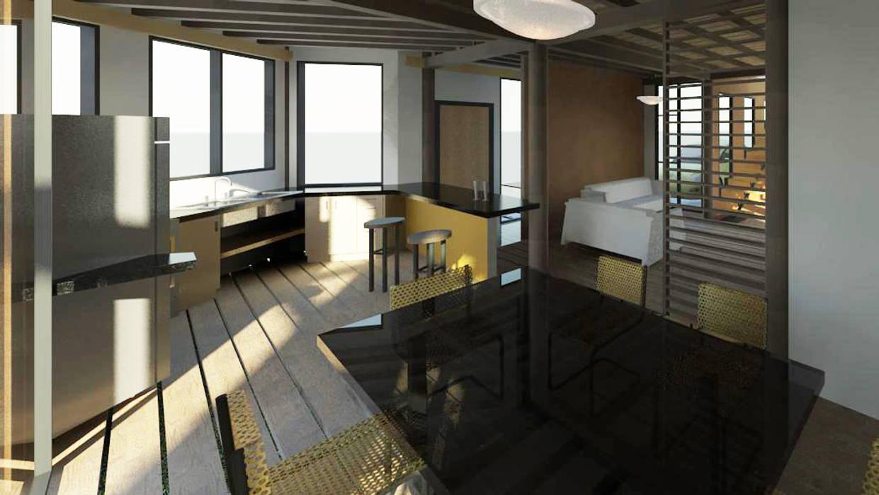 Vista interior de la vivienda Cocinas de estilo minimalista de Loft estudio C.A. Minimalista Madera Acabado en madera