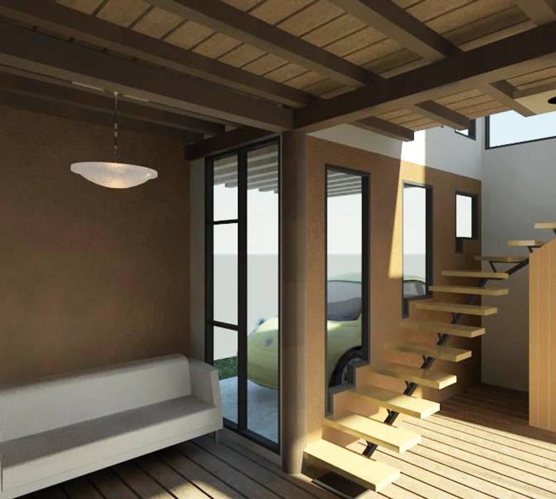Vista interior de la vivienda: Pasillos y vestíbulos de estilo  por Loft estudio C.A.