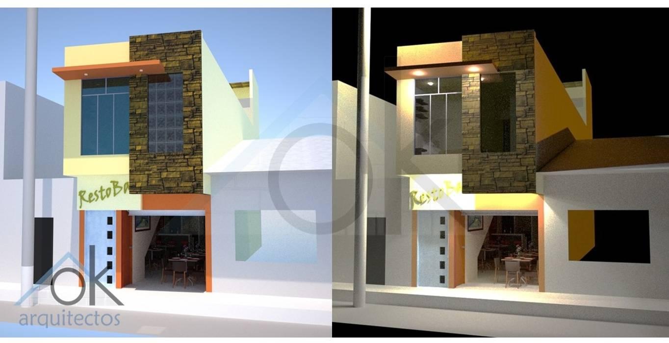 Fachada Restobar: Casas de estilo moderno por Okarq