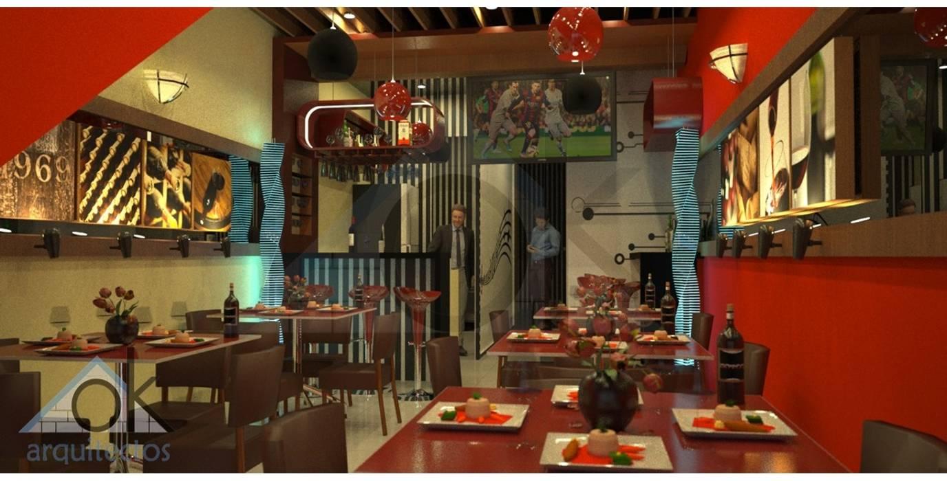 Diseño de Interior Restobar: Comedores de estilo  por Okarq