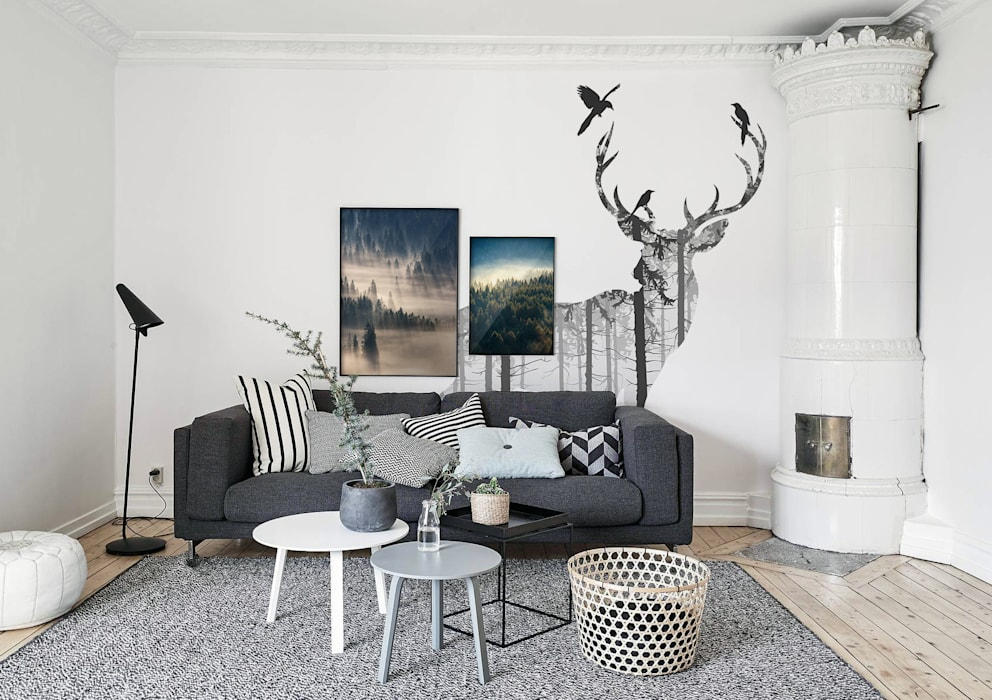 Mysterious Woods Scandinavian style living room by Pixers Scandinavian