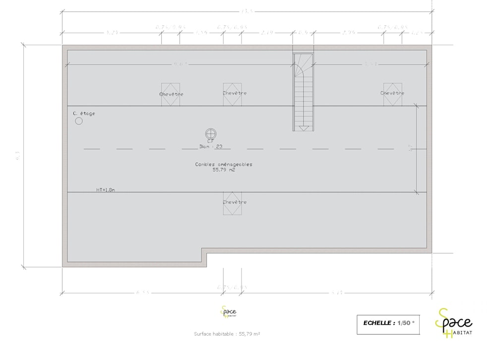 PLAN DES COMBLES AMENAGEABLES.: Maisons de style  par S'PACE HABITAT / S'PACE HOME DESIGN