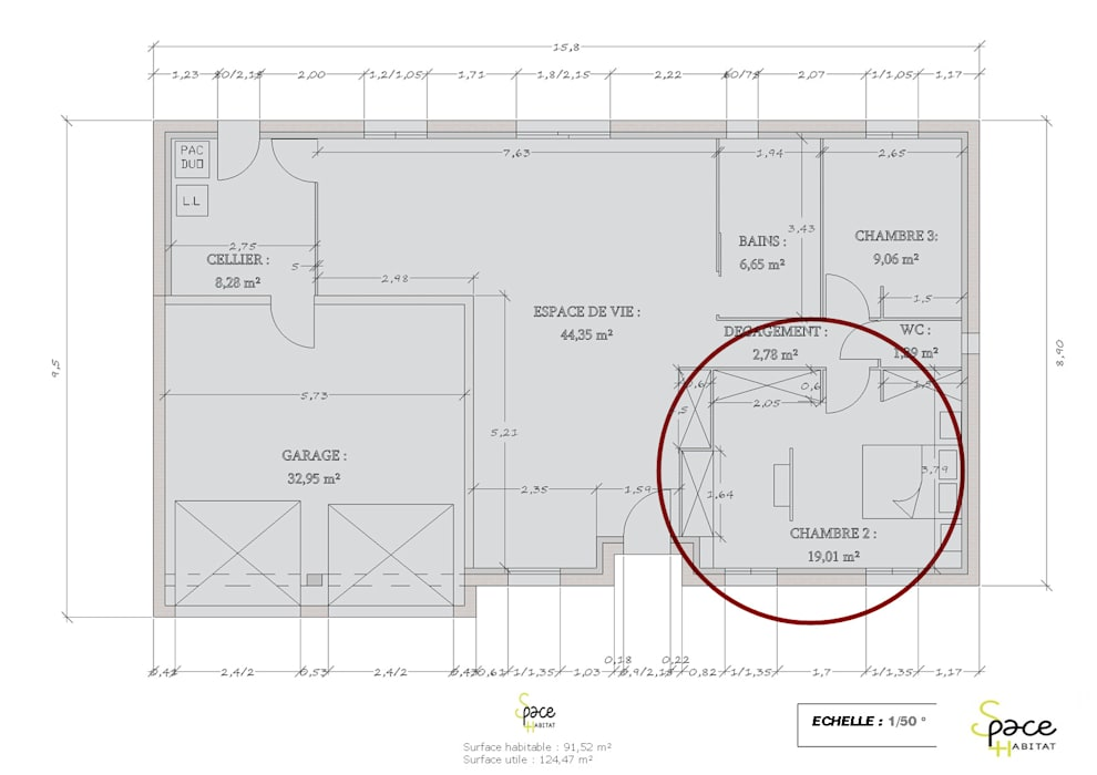PLAN DU REZ DE CHAUSSEE MODIFIE: Maisons de style de style Classique par S'PACE HABITAT / S'PACE HOME DESIGN