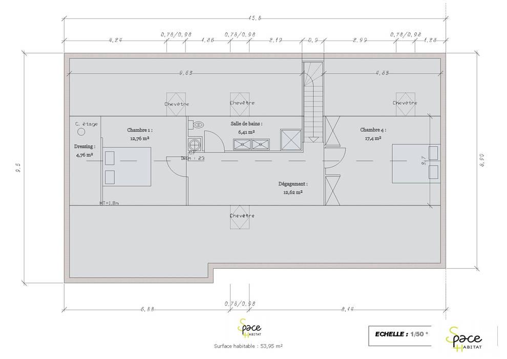 PLAN DES COMBLES: Maisons de style de style Classique par S'PACE HABITAT / S'PACE HOME DESIGN