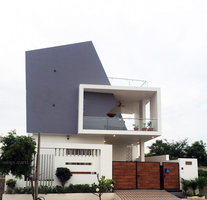 Gowrishankar Residence Design Quest Architects Modern houses Concrete Grey