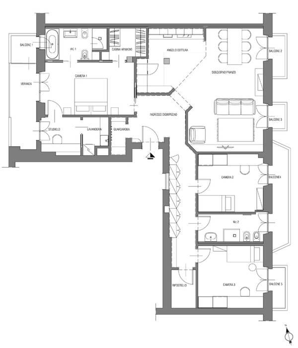 planimetria soggiorno in stile di luigi brenna