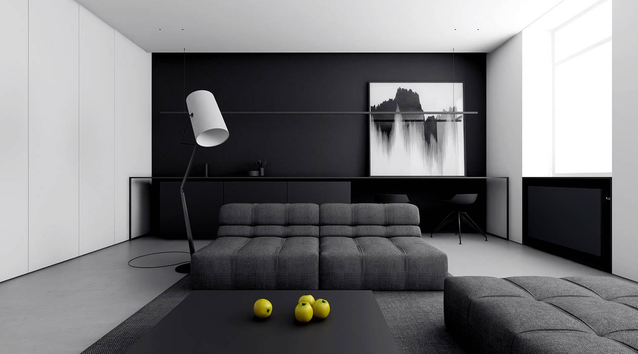 INUTI Minimalist living room Concrete Black