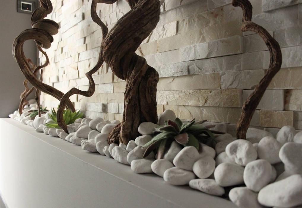 Officina design Modern corridor, hallway & stairs Stone Grey