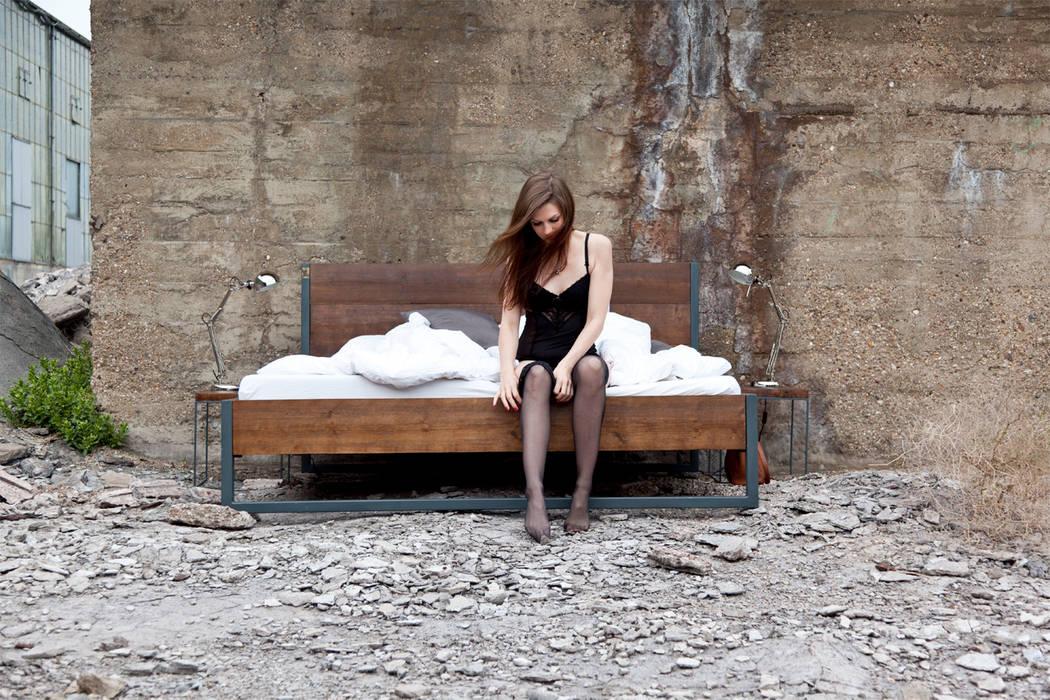 Loft Vintage Industrial Bett 180x200 Holz Stahl N51e12