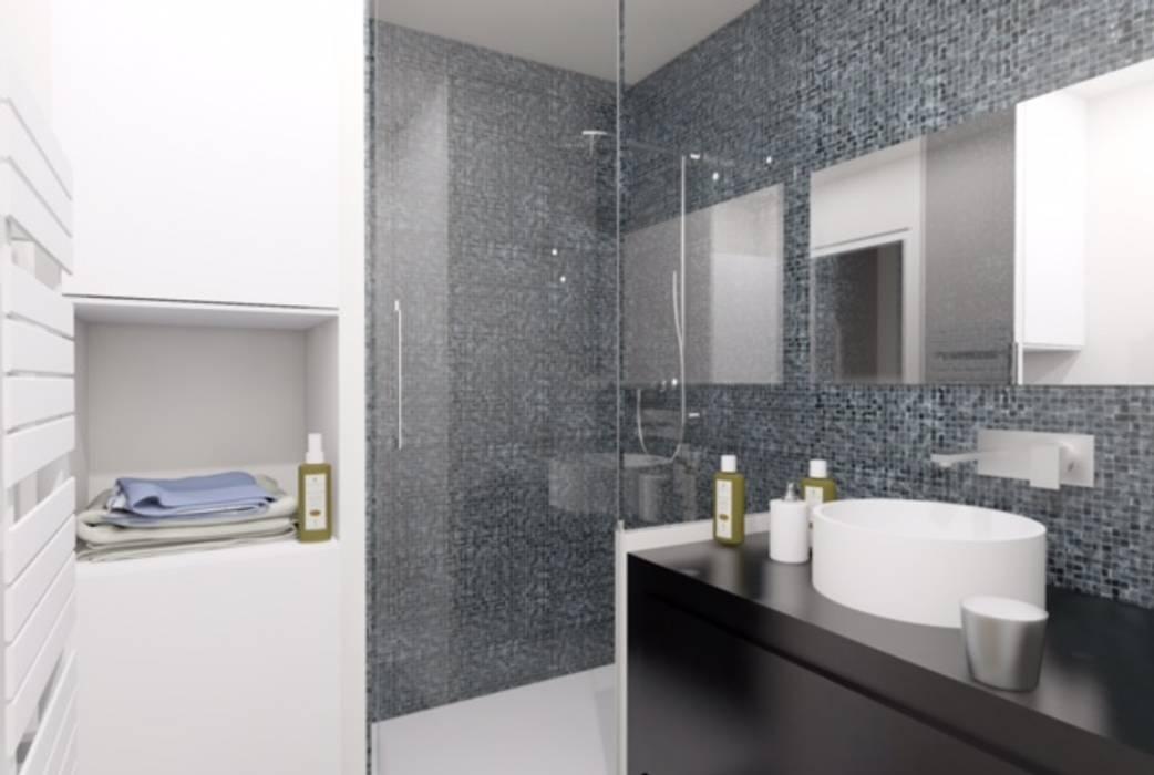 Salle de bain en mosaïque noire: Salle de bains de style  par Agence KP