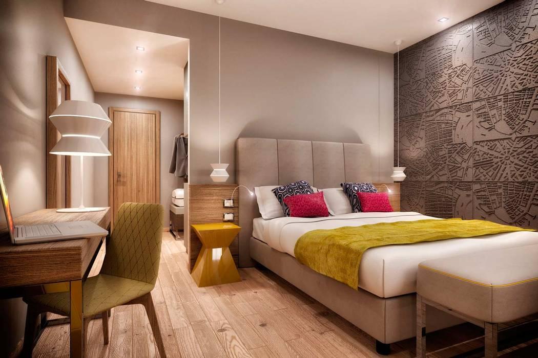 Rendering 3d : camere hotel : camera da letto in stile di ...