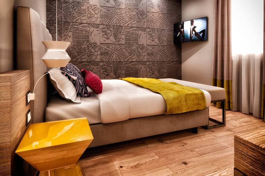 Rendering 3d : Camere Hotel : Camera da letto in stile in stile Moderno di Pasquale De Angelis