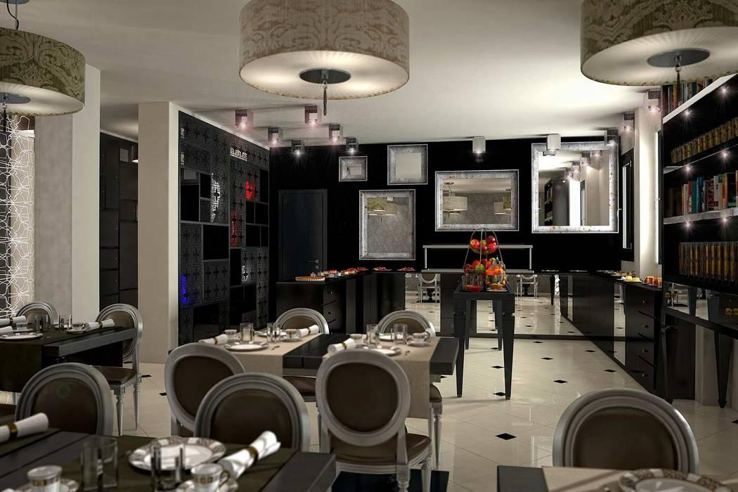 Rendering 3D : Sale Comuni Hotel: Sala da pranzo in stile in stile Moderno di Pasquale De Angelis
