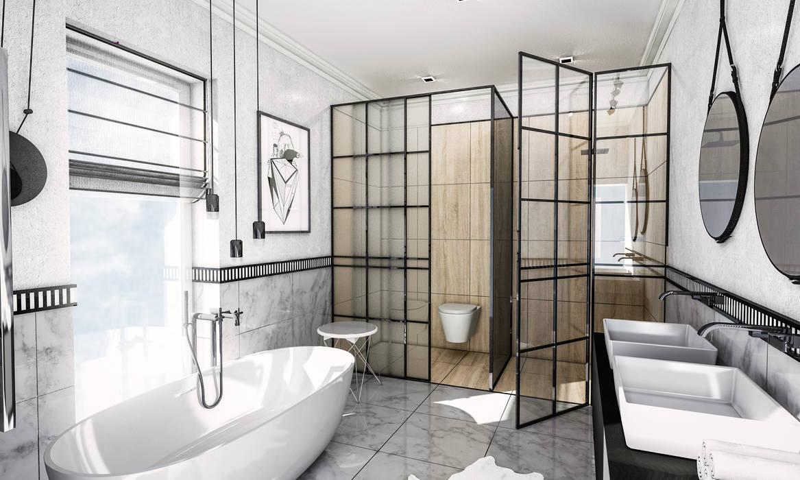Biało-czarna elegancja Skandynawska łazienka od Formea Studio Skandynawski Kamień