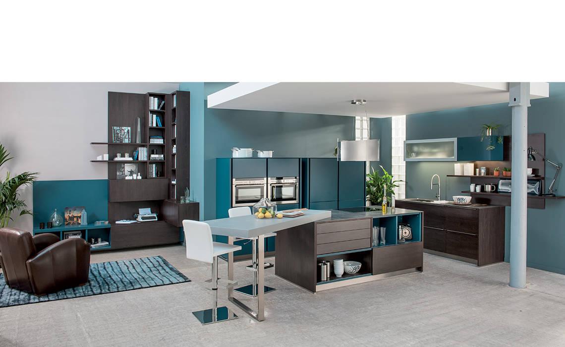 Wood effect open plan kitchen with island Cuisine moderne par Schmidt Kitchens Barnet Moderne MDF