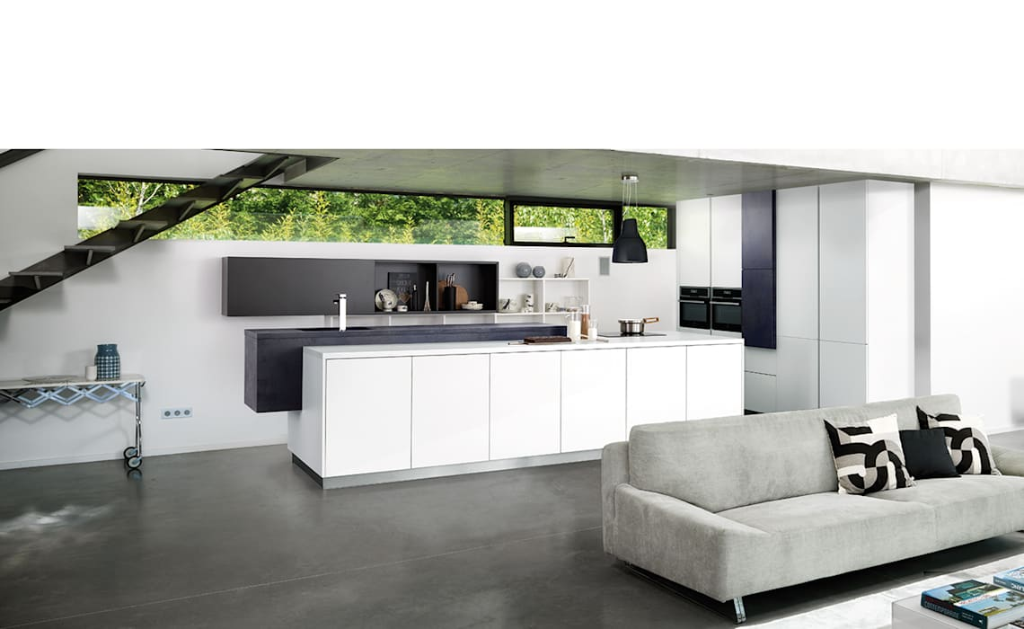 One wall, minimalist white kitchen with island Modern style kitchen by Schmidt Kitchens Barnet Modern MDF