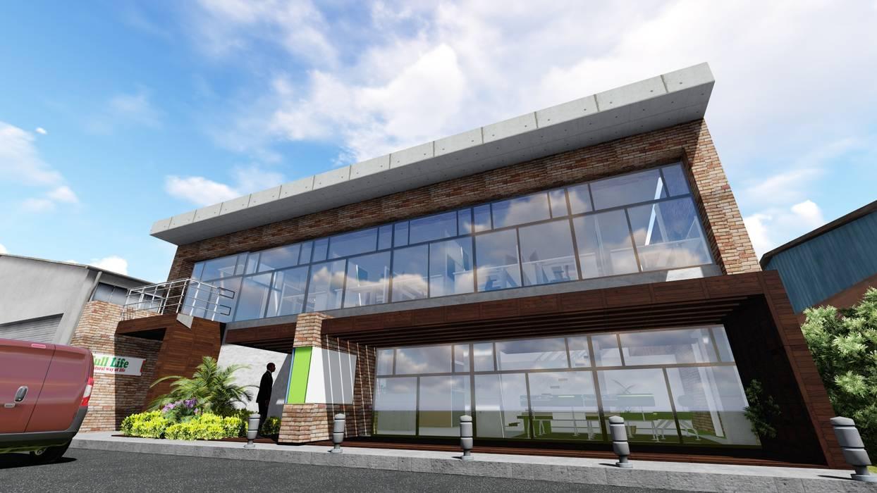 Proyecto para Laboratorio en Miami: Garajes y galpones de estilo  por Ghalmaca Arquitectura, Industrial Ladrillos