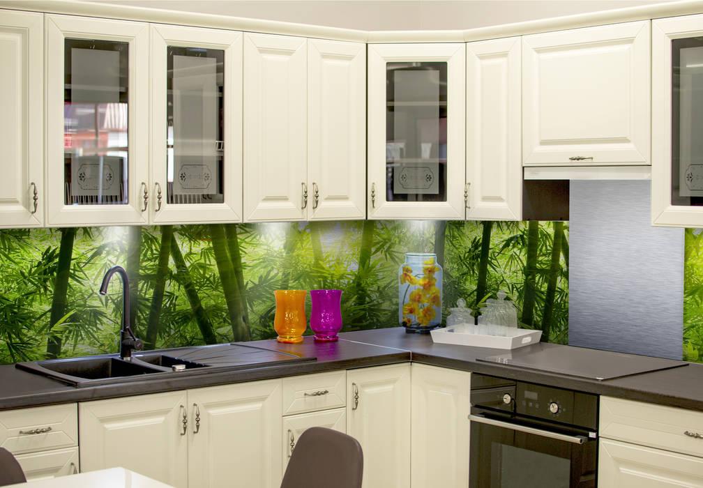 Küchenrückwand – alu-dibond-silber – sonnenschein im bambuswald ...