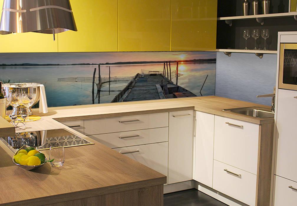 Küchenrückwand – alu-dibond-silber – sunset at the lake: moderne ...