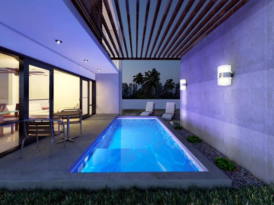 PISCINA: Albercas de estilo  por MUTAR Arquitectura, Moderno