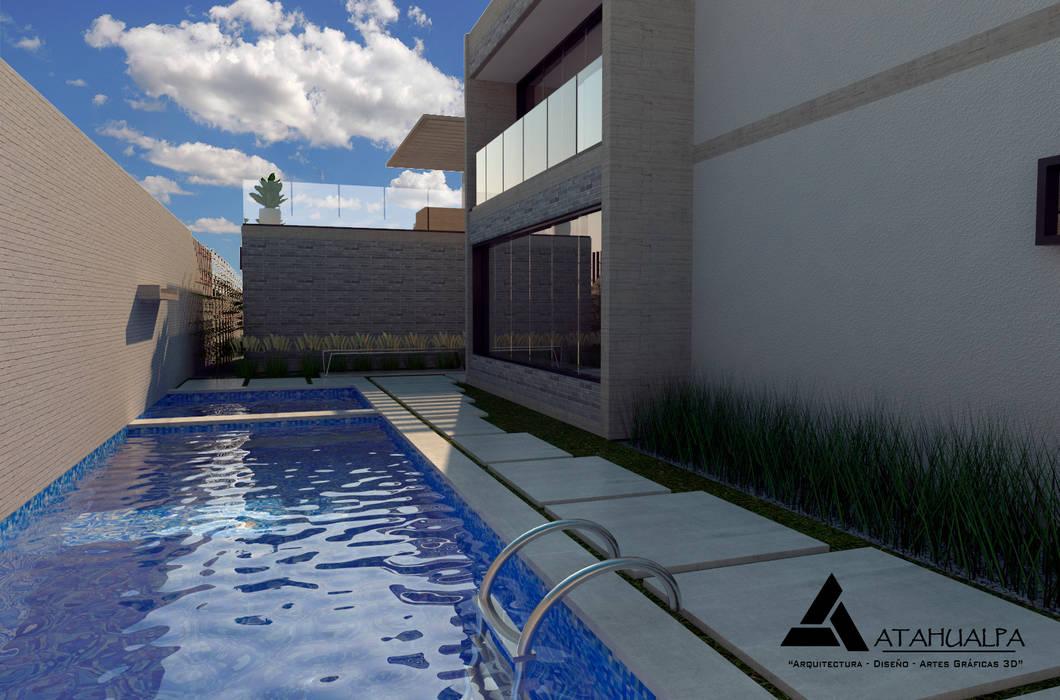 Render Vista Piscina Piscinas de estilo moderno de Atahualpa 3D Moderno