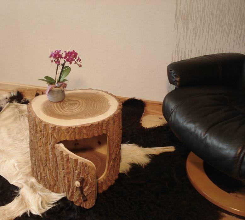 Baumstamm Fass Holzfass Beistelltisch Wohnzimmer Von Holzbau Bohse