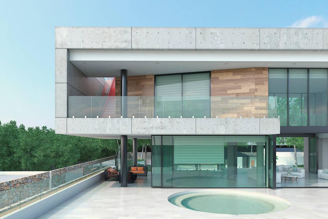 Detalle fachada principal: Casas de estilo  por Area5 arquitectura SAS, Moderno Concreto