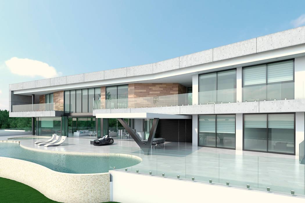 Fachada principal. Zona habitaciones: Casas de estilo  por Area5 arquitectura SAS,