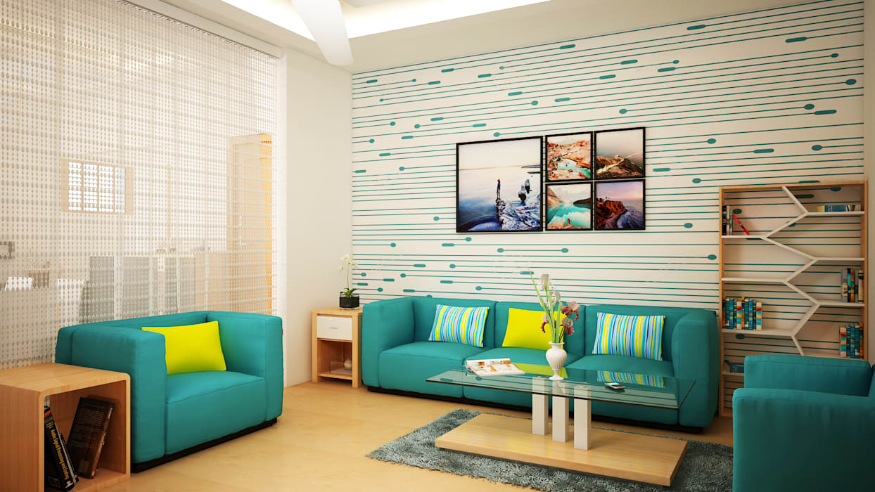 Living Room Wall Paper by Ghar360