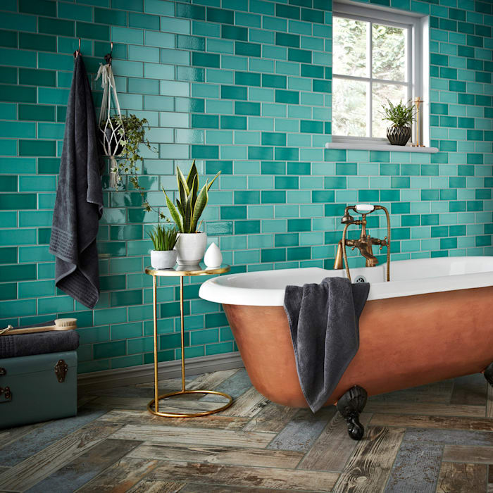 Teal Antique Crackle Metro Tiles Walls and Floors Ltd Walls & flooringWall & floor coverings Ceramic Turquoise