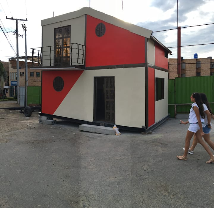 Casa movil modular PULHE: Espacios comerciales de estilo  por Pulecio Morris sas, Moderno Hierro/Acero