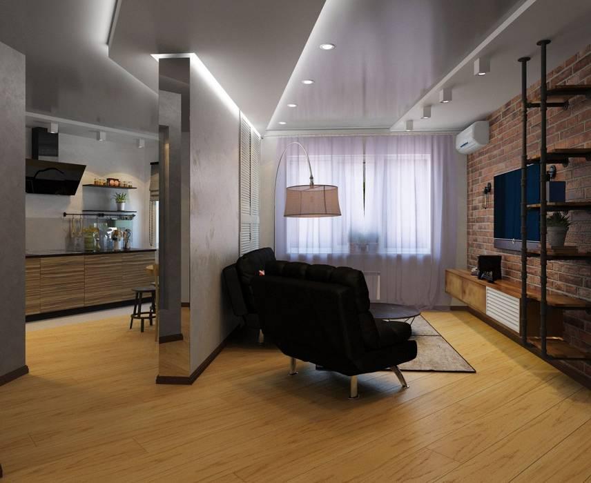 Дизайн-проект #ЖК_Дубль_в_лофте (60 кв.м) ДизайнМастер Гостиная в стиле лофт