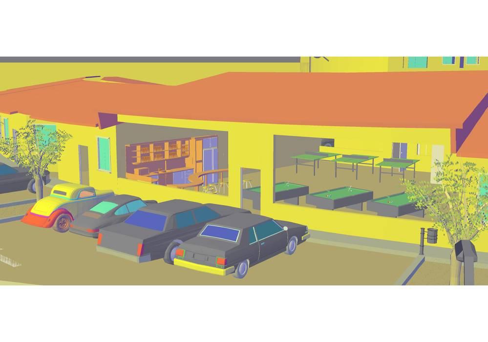 vista lateral 1: Casas de estilo  por YURAKU SUAREZ