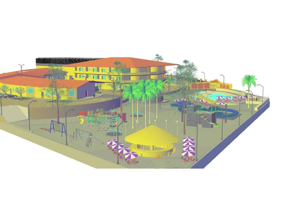 vista áreas recreativas 3 YURAKU SUAREZ Casas de estilo rústico